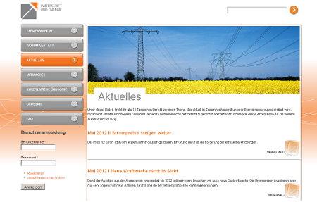 """Lernportal """"Wirtschaft und Energie"""" Energie Wirtschaft"""